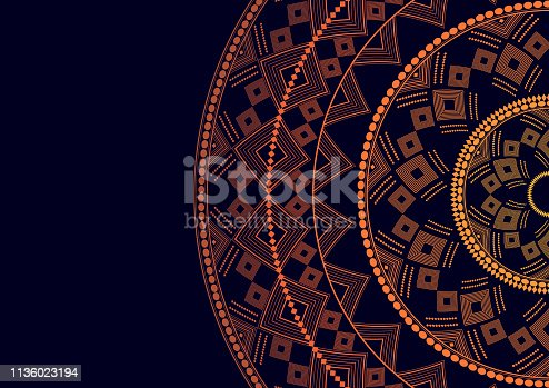 Mandala is an isolated graphic element. Oriental ornament geometric pattern. Stylized floral round decor. Abstract line art for creative business card, logo, badge, emblem. Prints for textiles, beach mats, yoga.