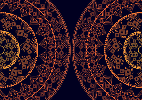 Mandala is an isolated graphic element. Oriental ornament geometric pattern. Stylized floral round decor.