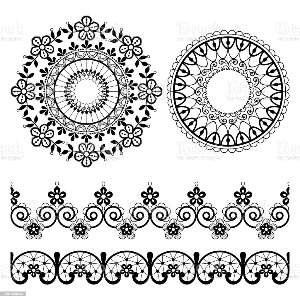 Black Seamless Lace Border Flowers Black Floral Lace Pattern ⬇ Vector Image  by © ezubalevich   Vector Stock 229279216   1024x1024
