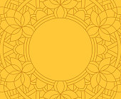 Mandala line frame circle pattern abstract background with space for your copy.