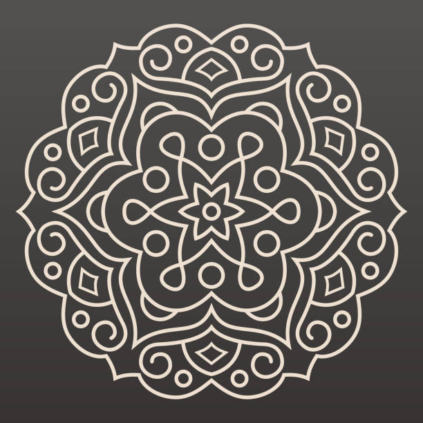 stockillustraties, clipart, cartoons en iconen met mandala lijn illustratie - indiase cultuur