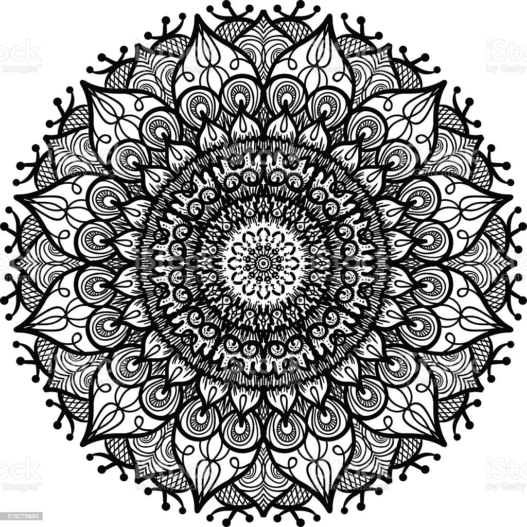 Mandala Line Template Stock Vector Art & More Images of