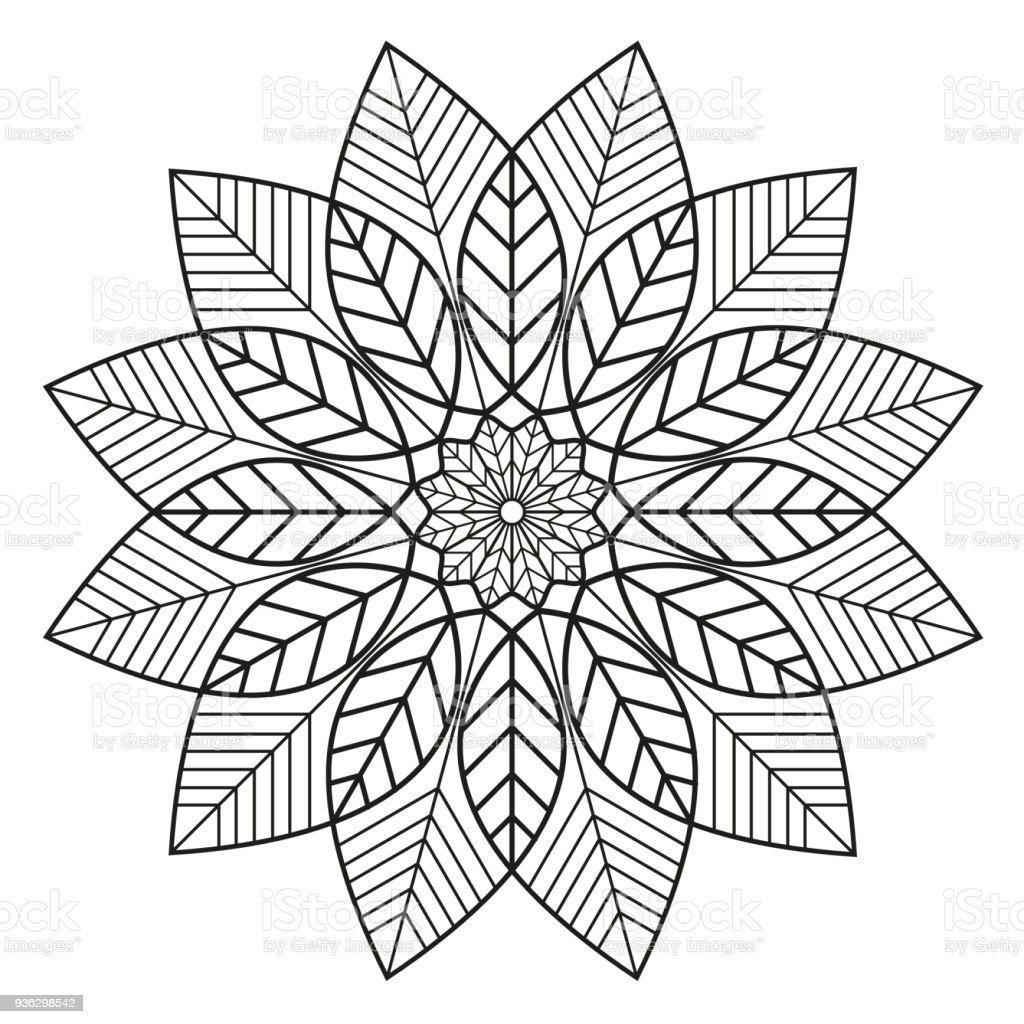 Mandala Blätter Schwarz Weiß Muster Stock Vektor Art Und Mehr Bilder