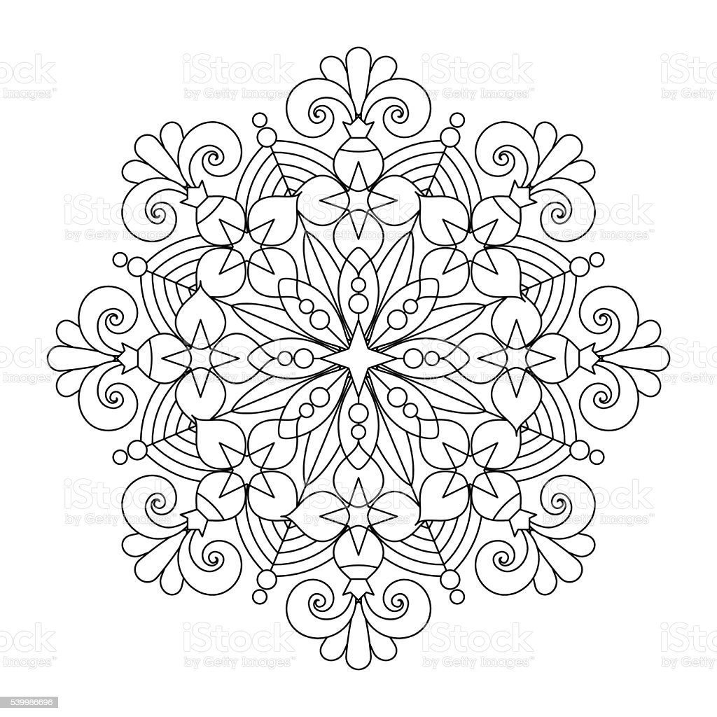 Line Art Poster Design : Mandala or whimsical snowflake line art design stock