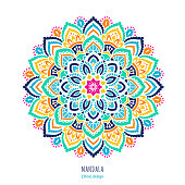Indian colorful mandala ornamentation design. Asian traditional mehendi style decor. EPS 10 vector illustration isolated on the white background.