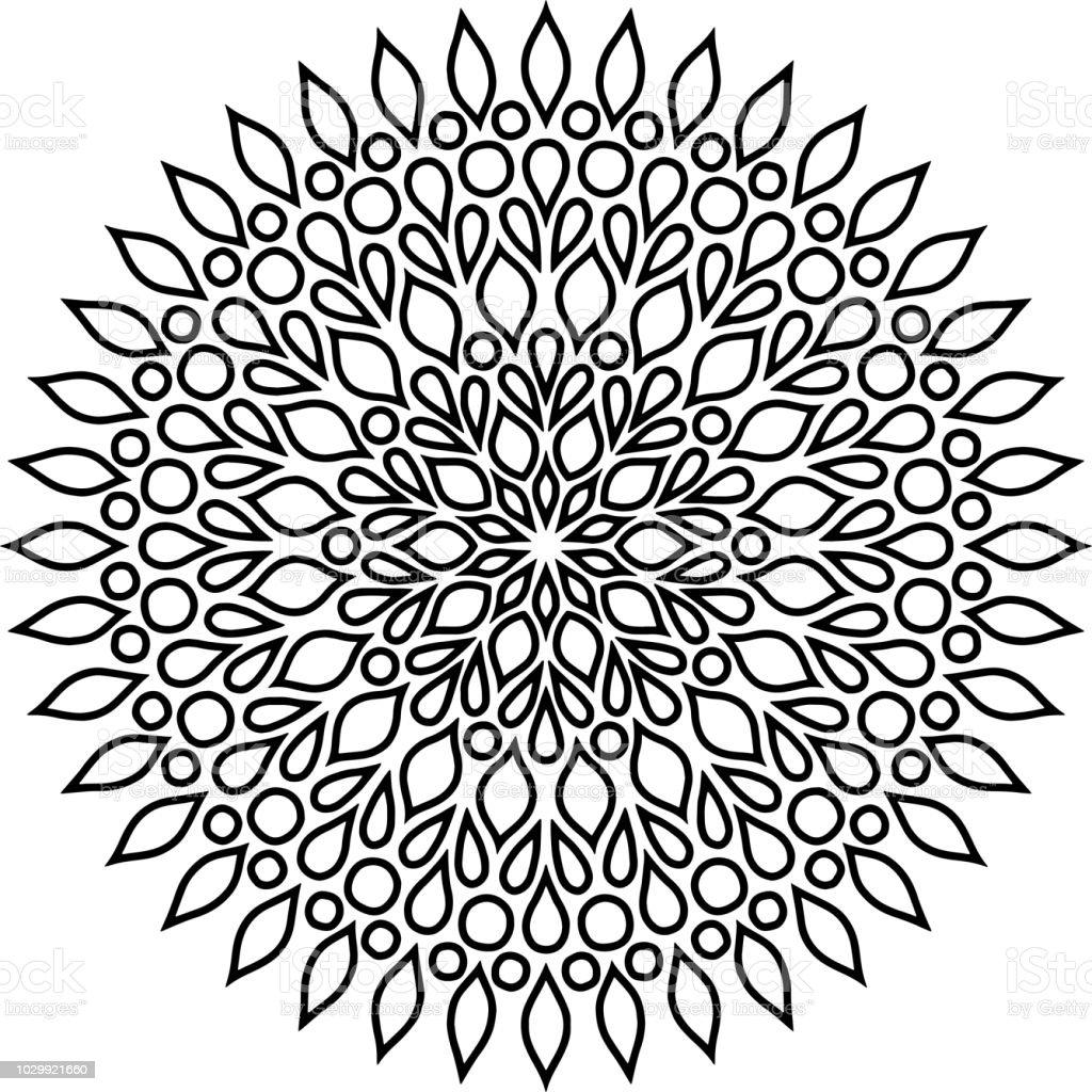 Mandala pattern black and white vector art illustration