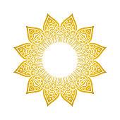 Mandala pattern. Circle monogram. Gold floral mandala. Decorative round ornament. Islam, arabic, indian, moroccan, ottoman motifs. Coloring book page Vector illustration