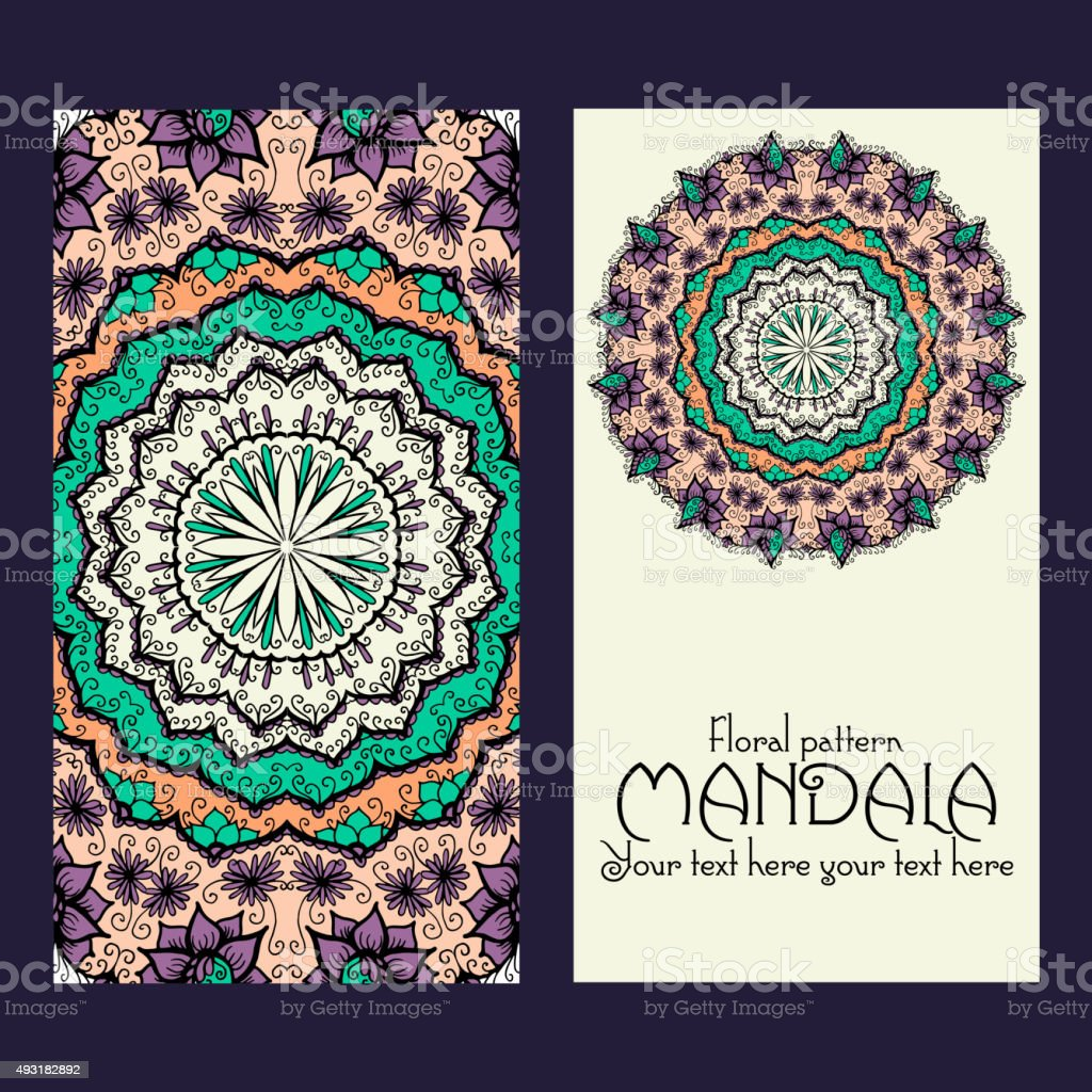 Mandala Patrón De Diseño De Plantillas Puede Utilizarse Para Tarjeta ...