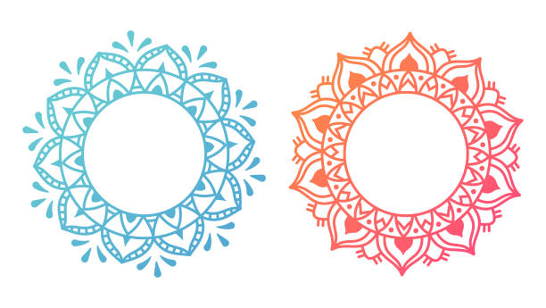 mandala pattern designs - coloring book pages templates stock illustrations