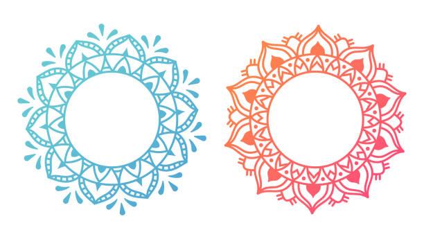 stockillustraties, clipart, cartoons en iconen met mandala patroon ontwerpen - indiase cultuur