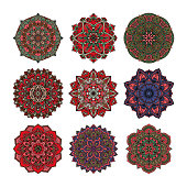 Mandala pattern flower vector set.