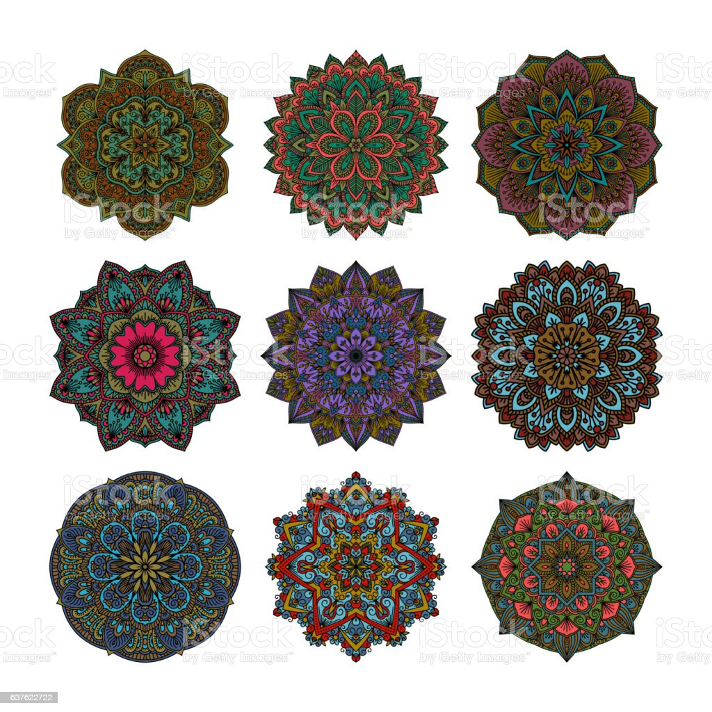 Mandala pattern flower vector set. vector art illustration
