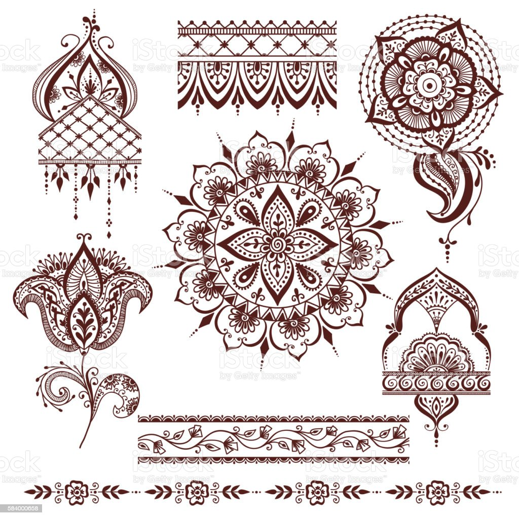 Mandala pattern vector set.