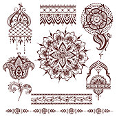 Mandala pattern vector set.