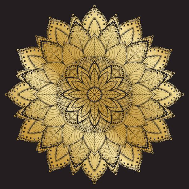 マンダラ パターン。アラビアのヴィンテージ装飾的な飾り。黒い背景にマンダラ。 - アジアのタトゥー点のイラスト素材/クリップアート素材/マンガ素材/アイコン素材