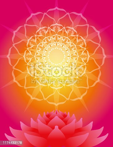 Mandala Petal Rays and Lotus Flower
