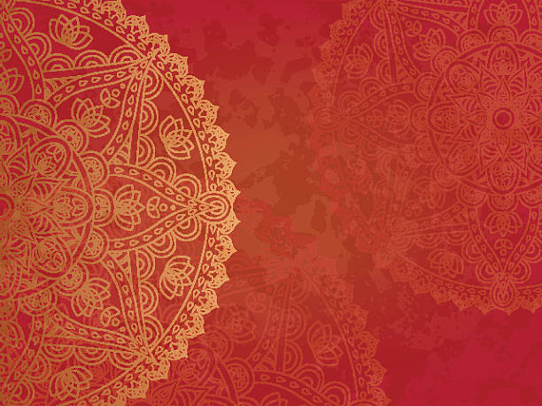 bildbanksillustrationer, clip art samt tecknat material och ikoner med mandala retro red background - mandala