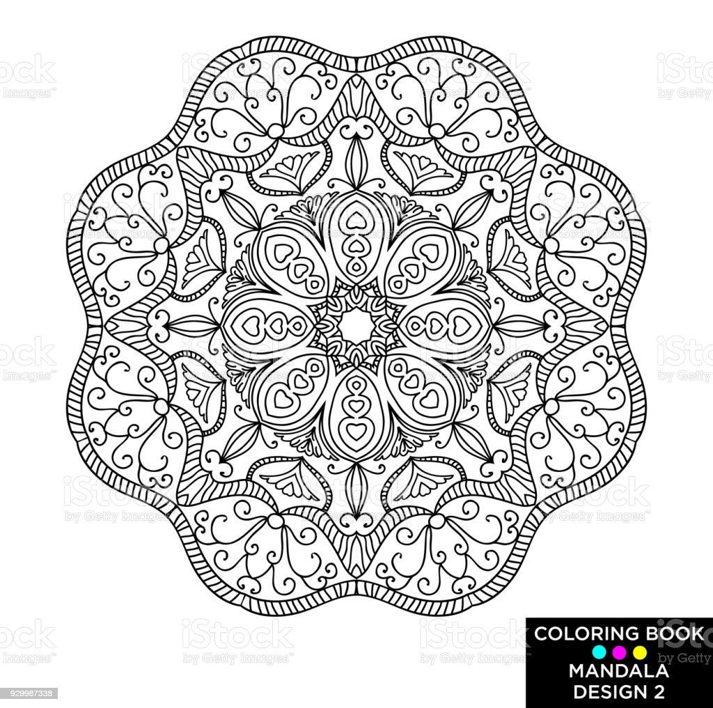 マンダラ丸い花飾り白い背景で隔離装飾的なデザイン要素です黒と白の