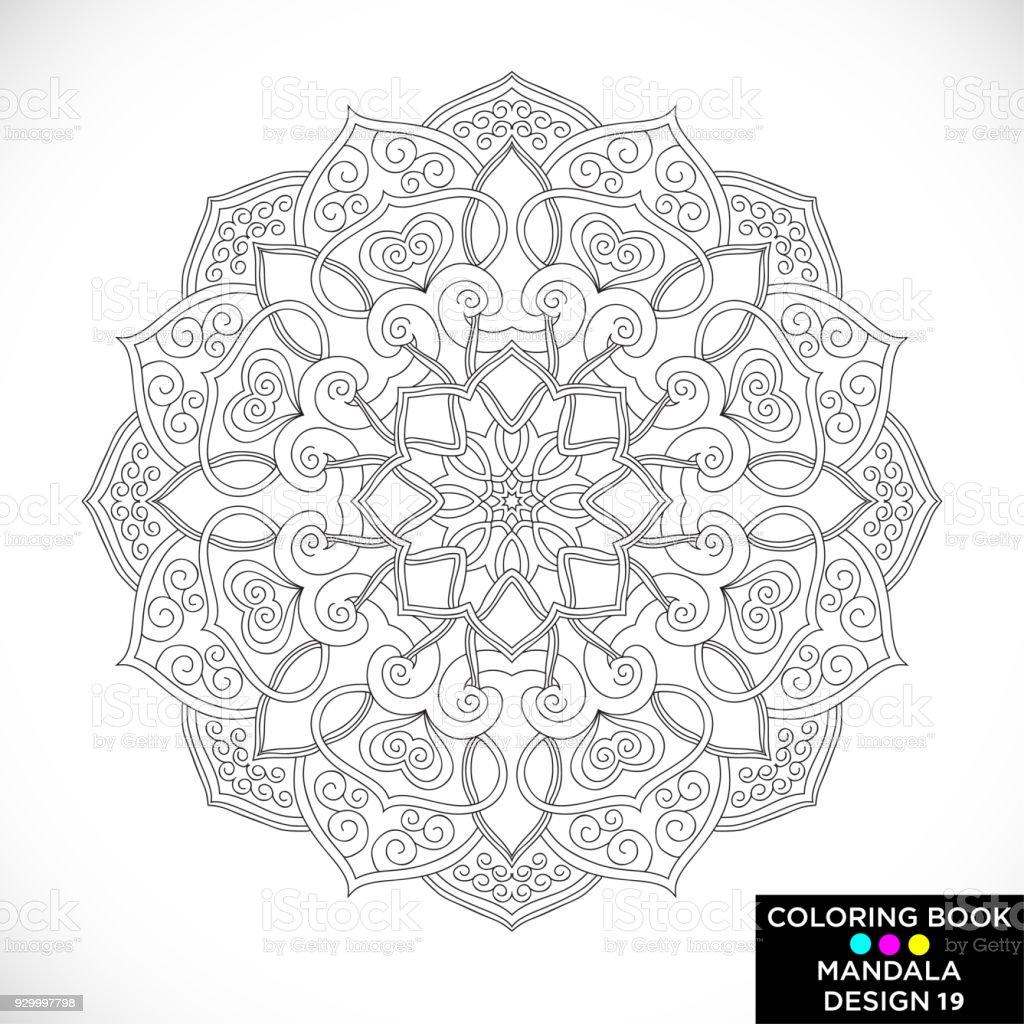 Mandala Ornamento Floral Redondo Aislado Sobre Fondo Blanco Elemento ...
