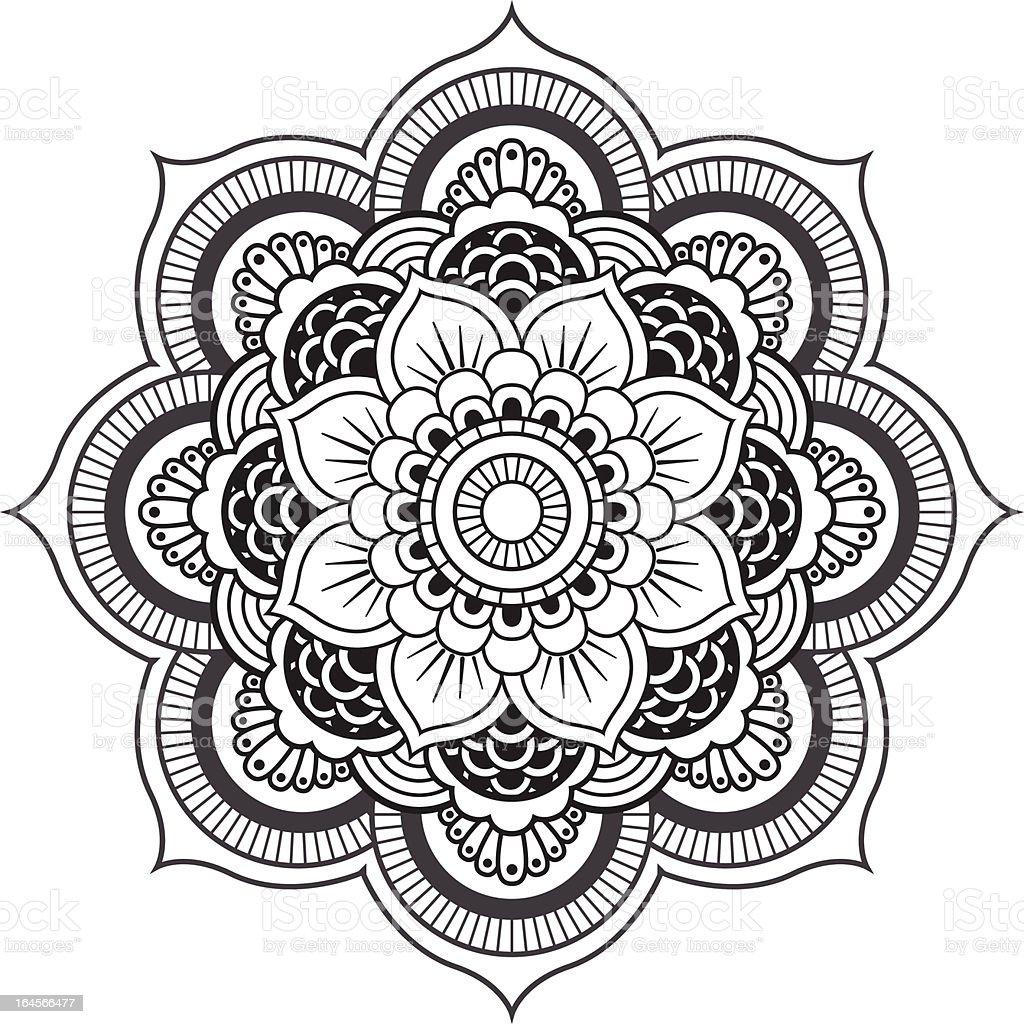 Mandala Runde Ornament Motiv Stock Vektor Art und mehr Bilder von ...