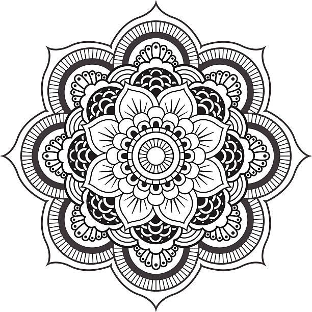 illustrations, cliparts, dessins animés et icônes de mandala. ornement rond motif - tatouages de fleurs
