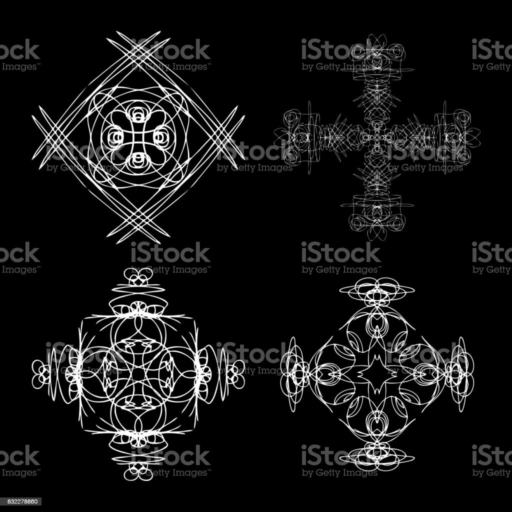 Mandala round sacred geometry. Alchemy religion, philosophy spirituality symbols and elements. Linear style geometry mandalas. Vector. vector art illustration