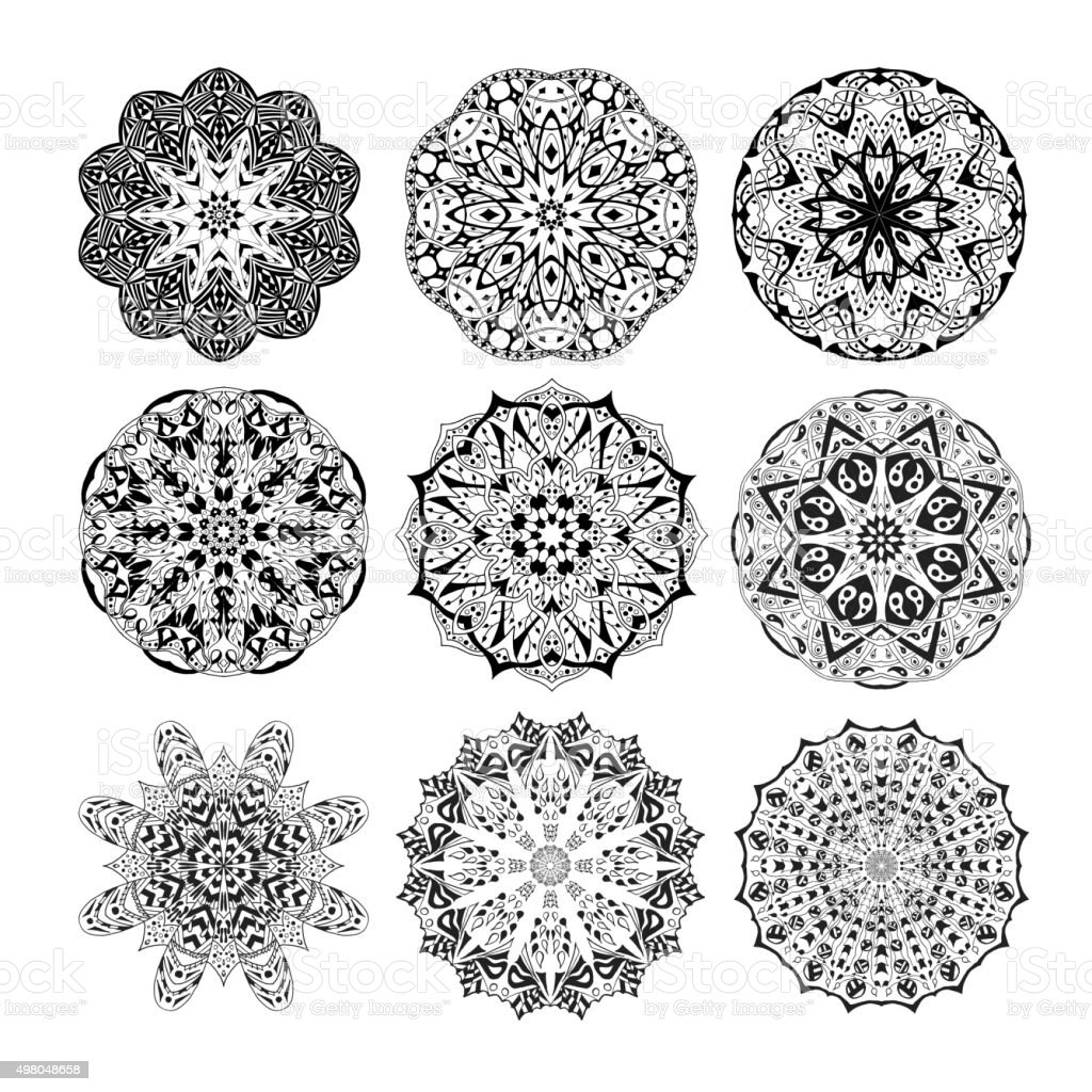 Mandala set. Floral ethnic abstract decorative ornament vector art illustration