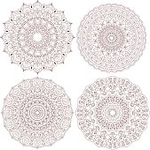 Mandala set. Vintage decorative elements. Hand drawn background. Indian, Turkish, Asian motifs.