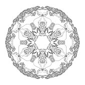 Mandala shaped contoured birds, flowers, leaves and floral decorative elements.