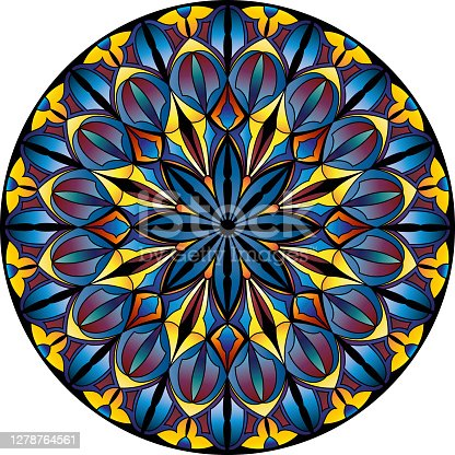 Mandala stained glass. Gothic and ethnic style. Circular ornament.