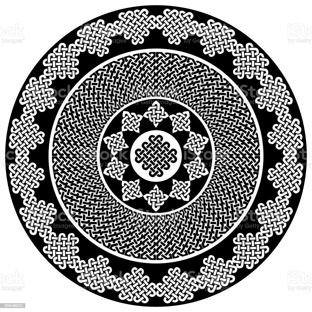 Mandala Style Celtic Style Endless Knot Symbols In White And Green