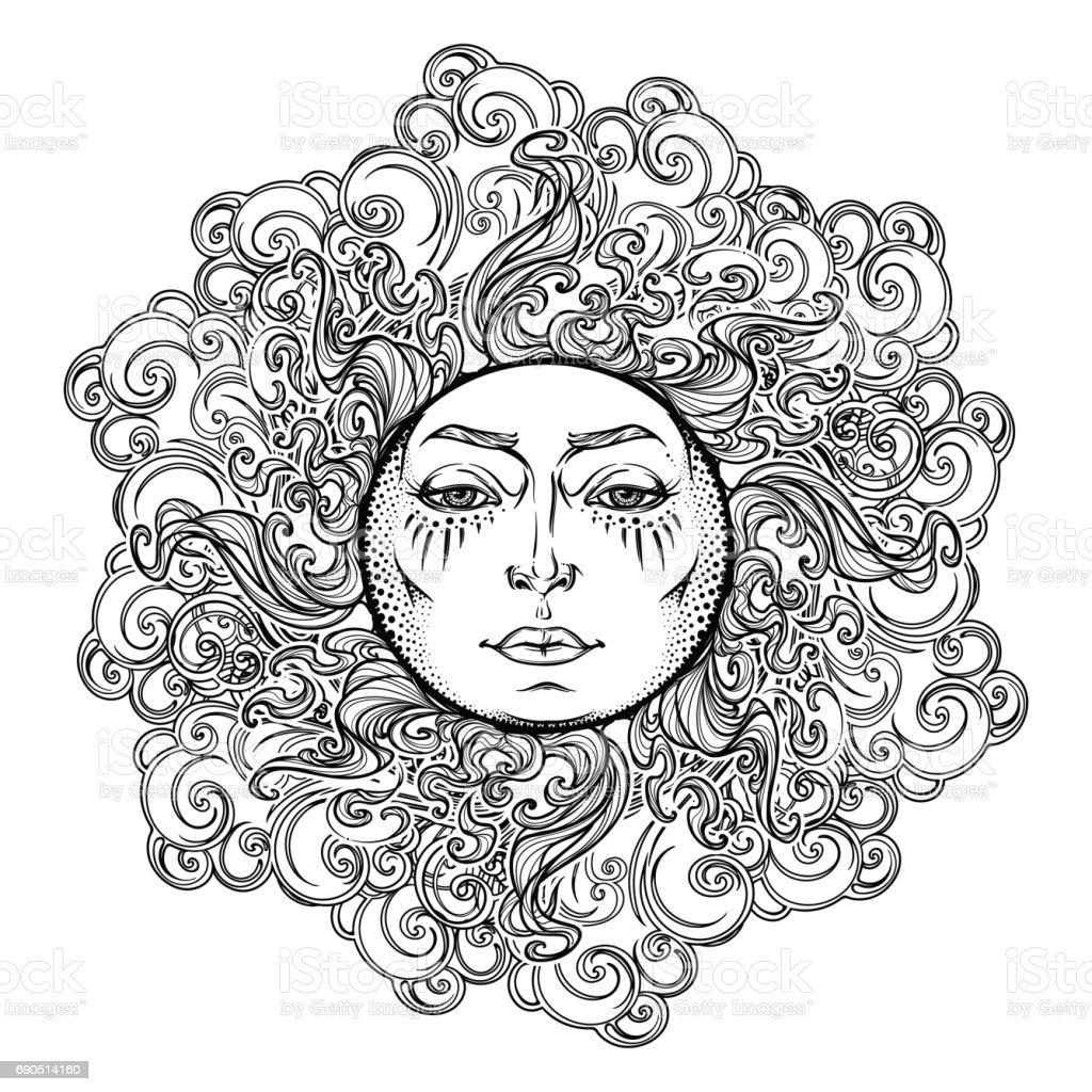 Mandala Dovme Fairytale Stil Gunes Kivircik Suslu Bulutlar