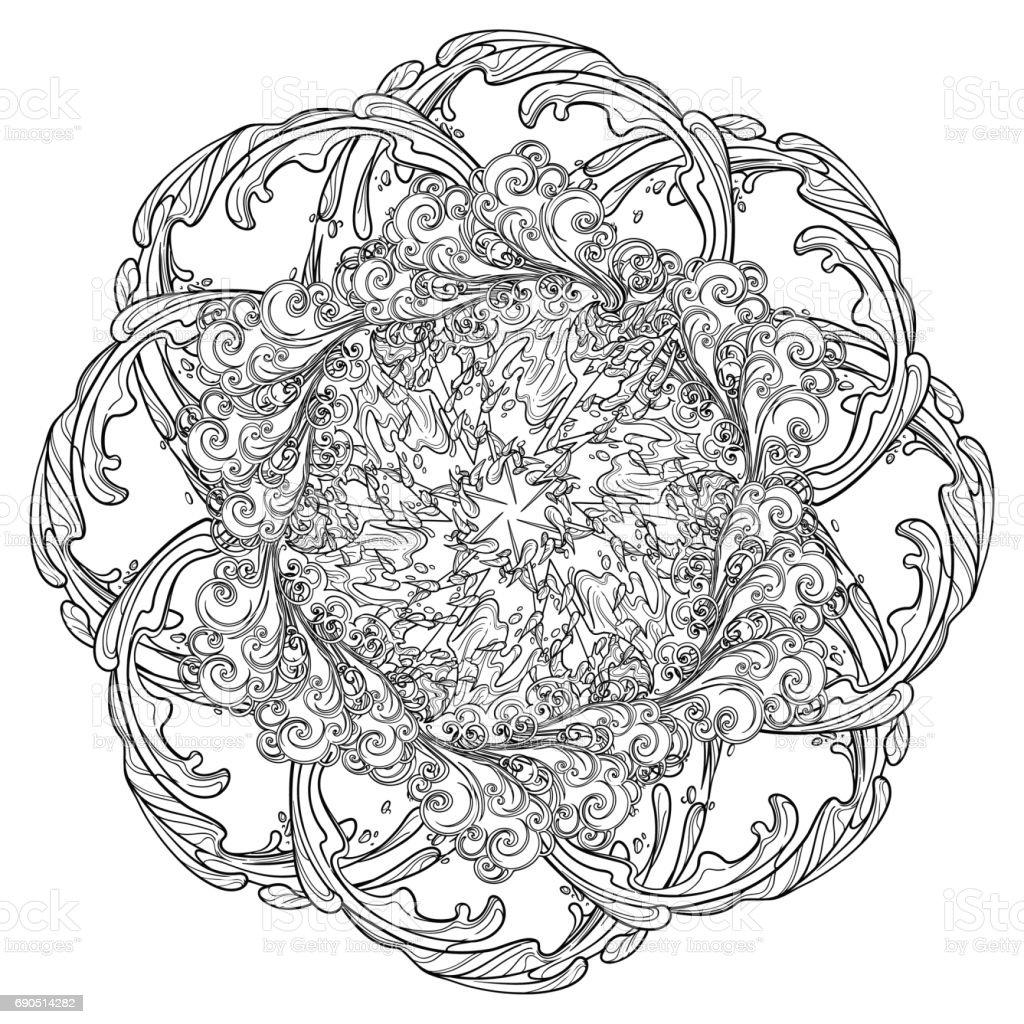 Mandala Dövme Retro Tarzı Kıvırcık Dekoratif Bulut Ile Yağmur
