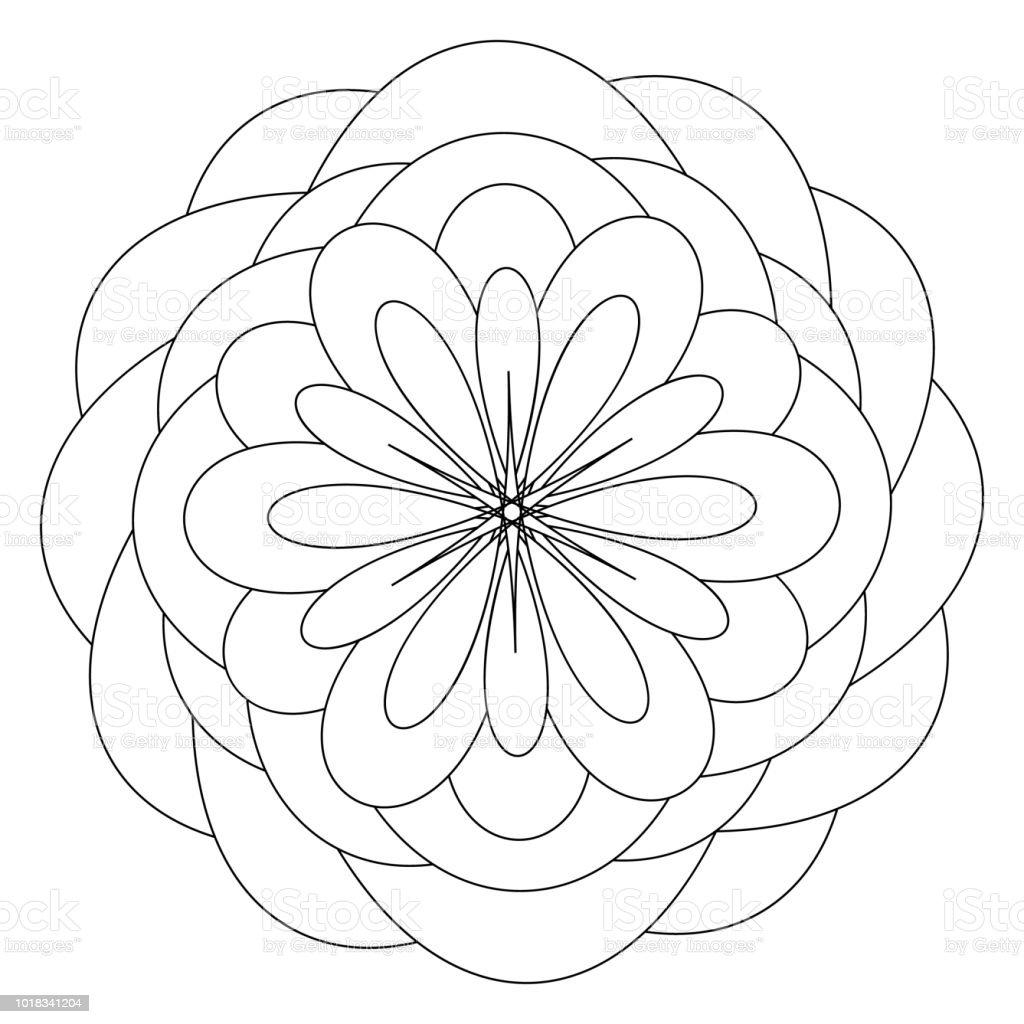 Mandala Sablonu Cicek Anti Stres Terapisi Desen Boyama Kitabi