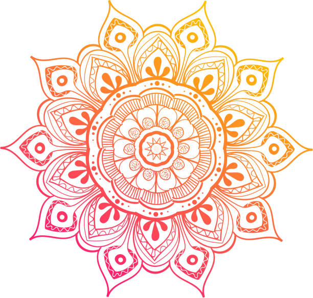 Mandala Vector Design Element. Round ornament decoration. Colorful flower pattern. Stylized floral motif. Complex flourish weave medallion. Tattoo print Mandala Vector Design Element. Round ornament decoration. Colorful flower pattern. Stylized floral motif. Chakra symbol for meditation yoga logo. Complex flourish weave medallion. Tattoo print yoga stock illustrations