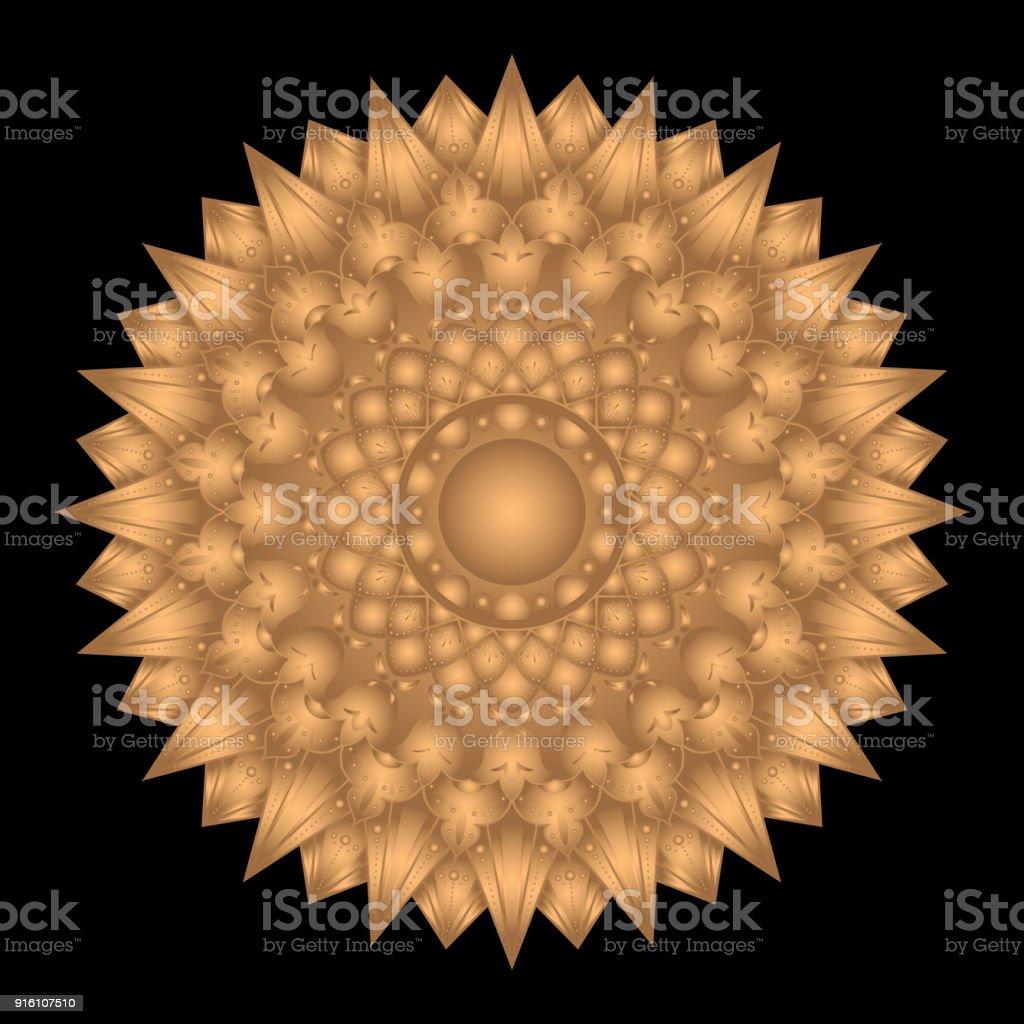Mandala Vector Isolated Sun Symbol Indian Oriental Or Arabic