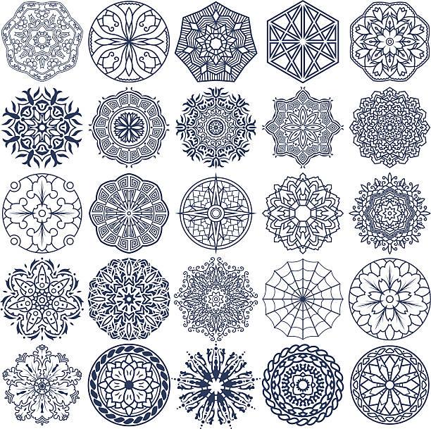 ilustraciones, imágenes clip art, dibujos animados e iconos de stock de mandala de vector de de ornamentos 3 - tatuajes tribales