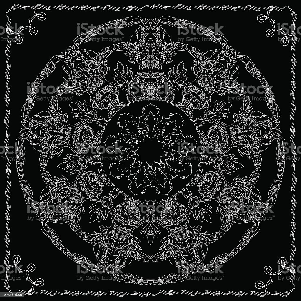 Mandala with contoured floral ethnic decorative elements. vector art illustration