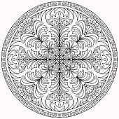 mandala with linear ornaments and flowers in folk style drawn on a white background for coloring, vector drawn