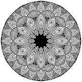 mandala with linear ornaments in fok style drawn for coloring on a white background, vector, drawn vector