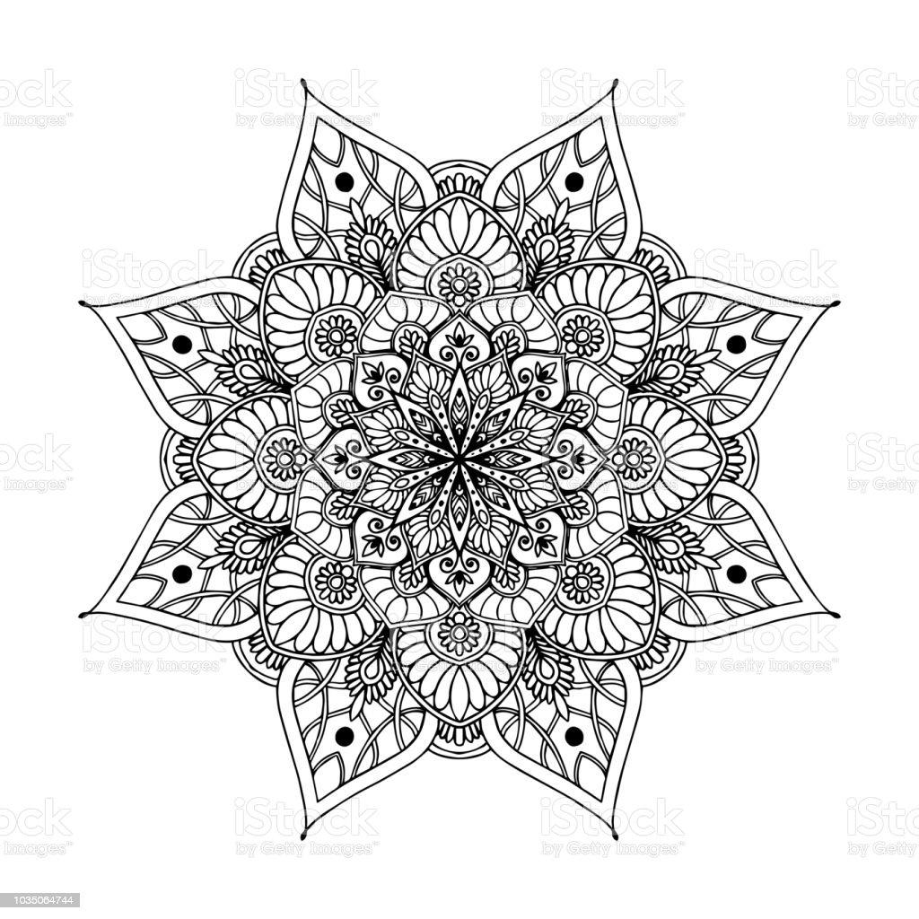 マンダラ塗り絵のため装飾的なラウンドの装飾品珍しい花の形東洋の
