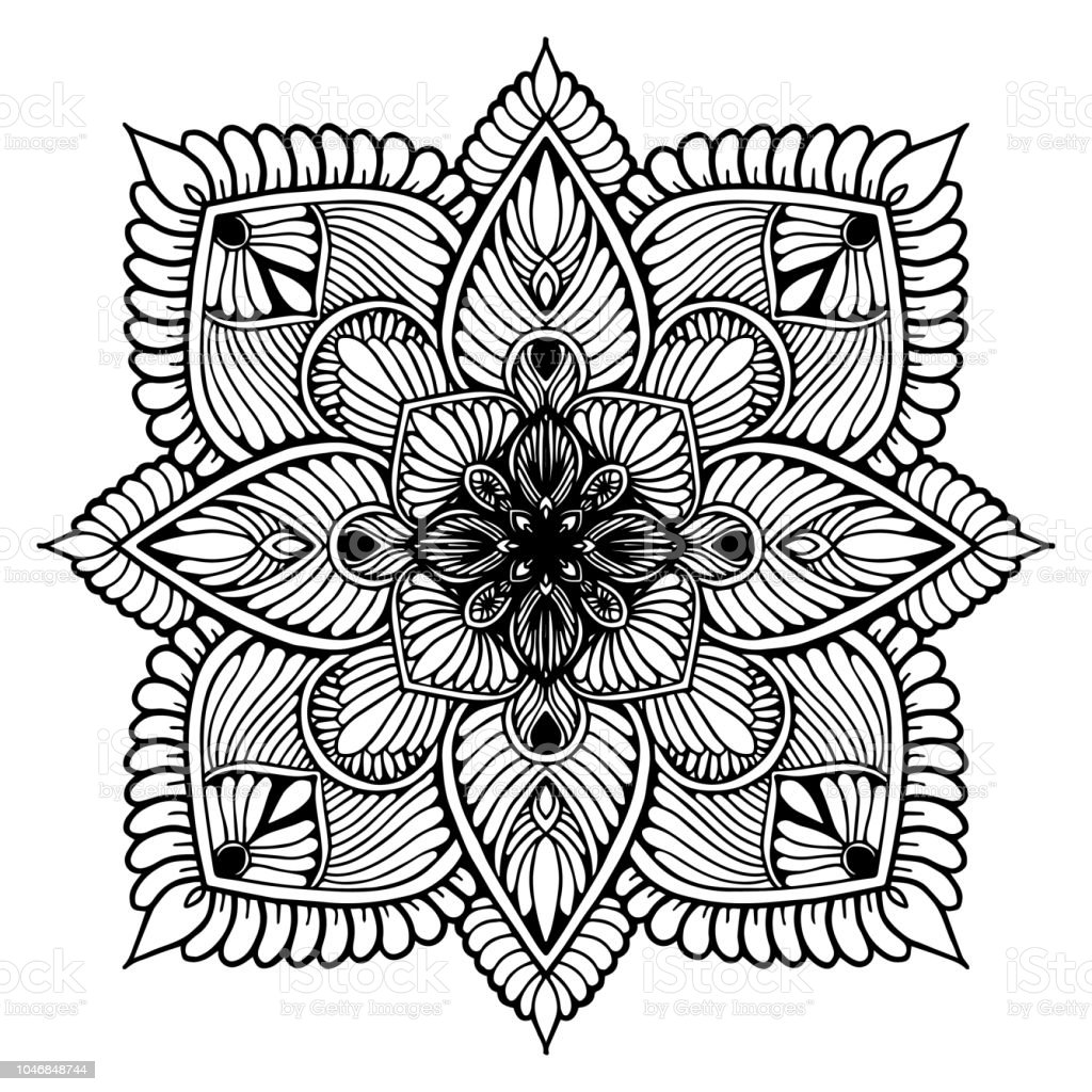 Mandalas For Coloring Book Decorative Round Ornaments Unusual Flower Shape  Oriental Vector Antistress Therapy Patterns Weave Design Elements Yoga ...