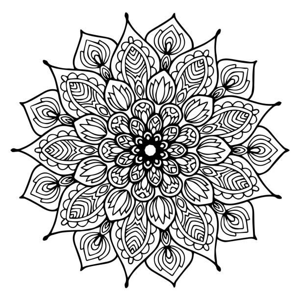 만다라 색칠에 대 한입니다. 장식 둥근 장식품입니다. 특이 한 꽃 모양입니다. 동양 벡터, 안티 스트레스 치료 패턴입니다. 디자인 요소를 짜 다. 요가 로고 벡터. 벡터 아트 일러스트