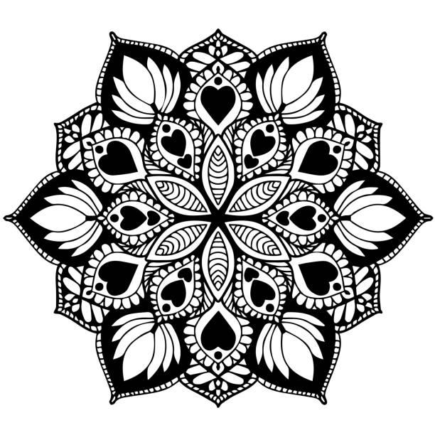 만다라 색칠에 대 한입니다. 장식 둥근 장식품입니다. 특이 한 꽃 모양입니다. 동양 벡터, 안티 스트레스 치료 패턴입니다. 디자인 요소를 짜 다. 요가 로고 Vector.Mobile 벡터 아트 일러스트