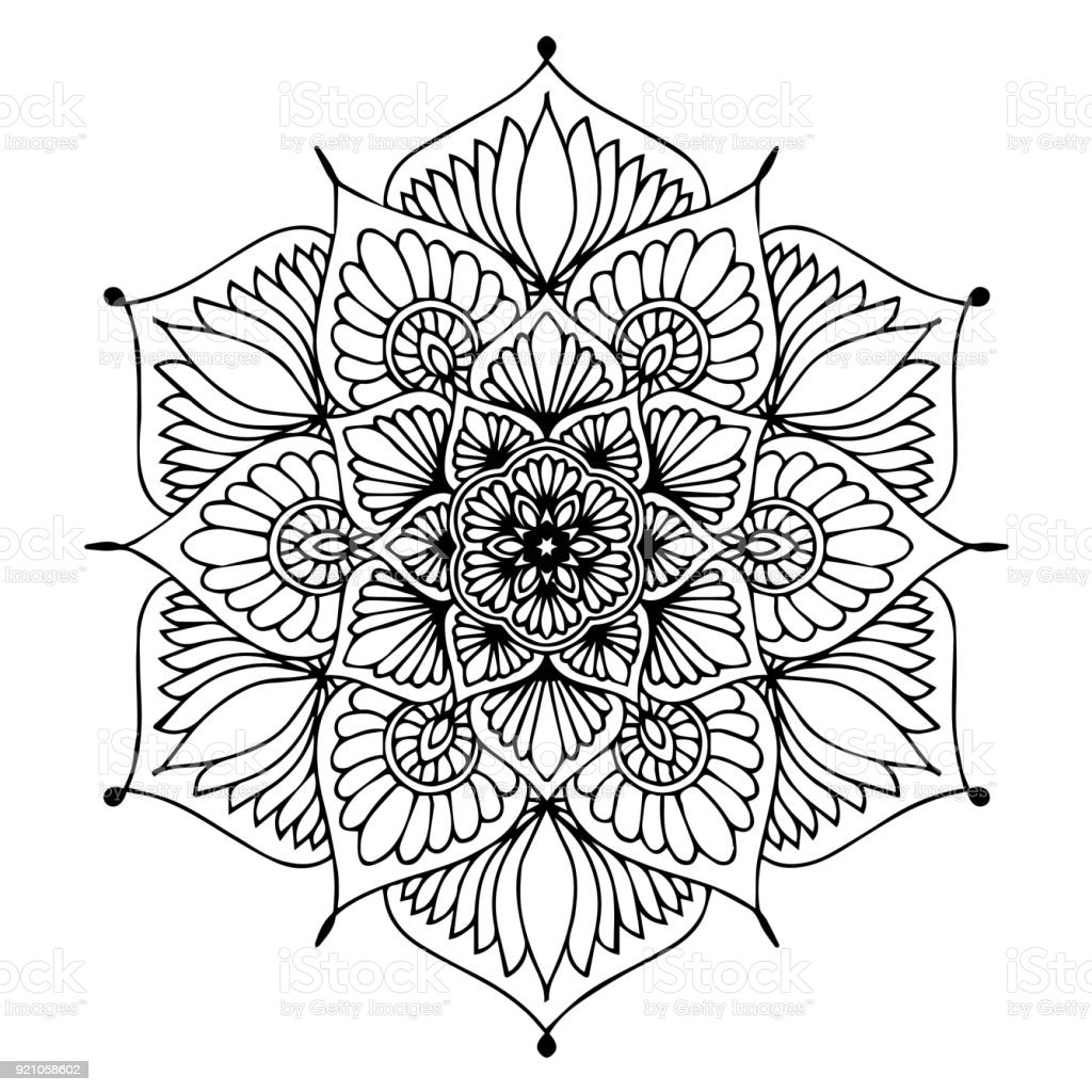 Circle Thailand Abstract Adult Art Mandalas For Coloring Book Decorative Round Ornaments Unusual Flower Shape Oriental Vector