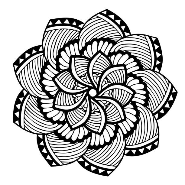 만다라 색칠에 대 한입니다. 장식 둥근 장식품입니다. 특이 한 꽃 모양입니다. 동양 벡터, 안티 스트레스 치료 패턴입니다. 디자인 요소를 짜 다. 요가 벡터입니다. 벡터 아트 일러스트