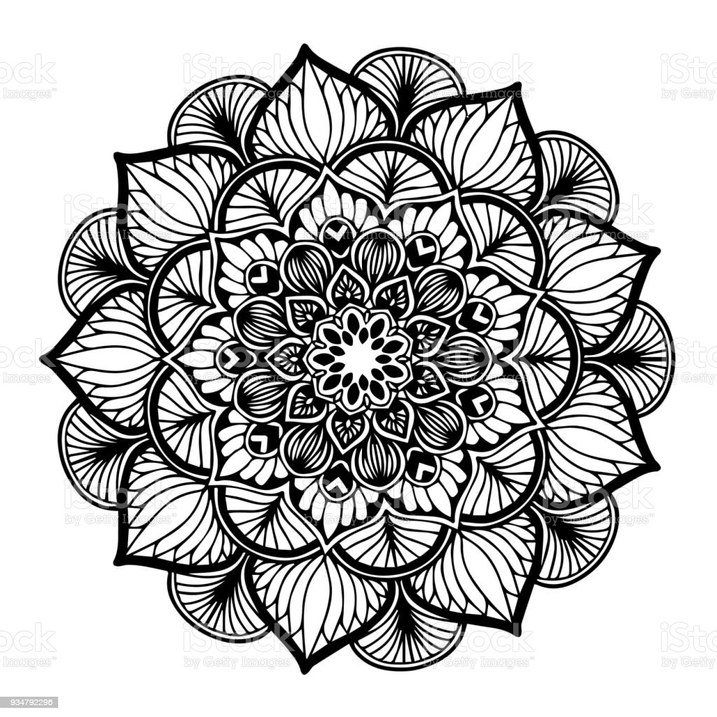 만다라 색칠에 대 한입니다. 장식 둥근 장식품입니다. 특이 한 꽃 모양입니다. 동양 벡터, 안티 스트레스 치료 패턴입니다. 디자인 요소를 짜 다. 요가 벡터입니다. - 로열티 프리 0명 벡터 아트