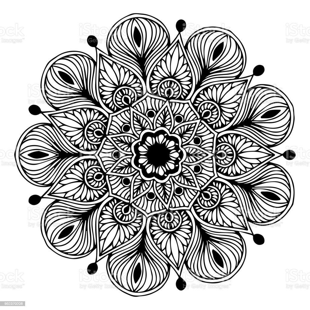 Boyama Kitabı Için Mandalalar Dekoratif Yuvarlak Süsler Olağandışı