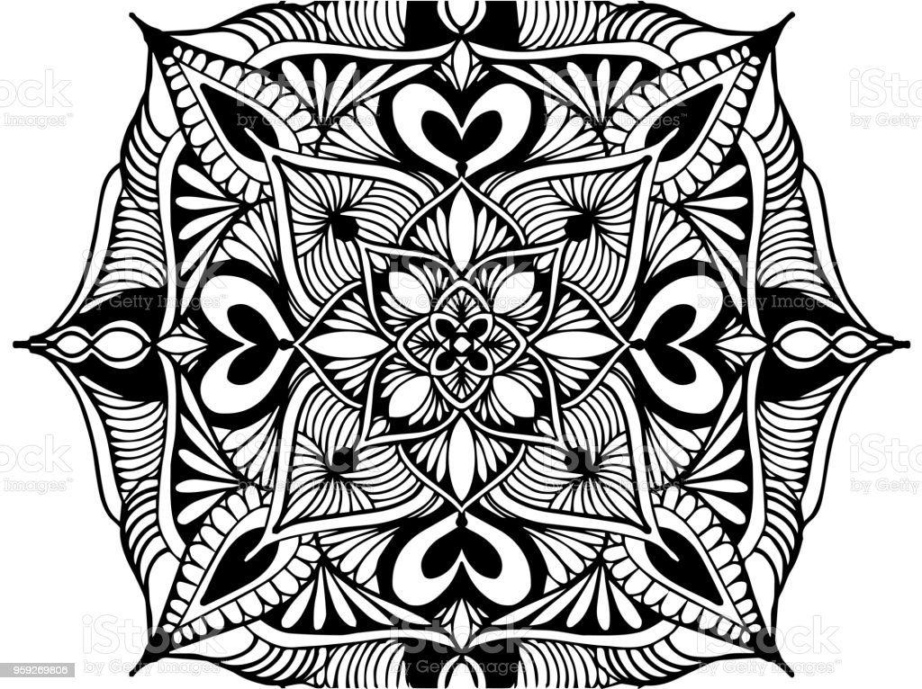 Ilustración de Mandalas Para Colorear Libro Ornamentos Decorativos ...