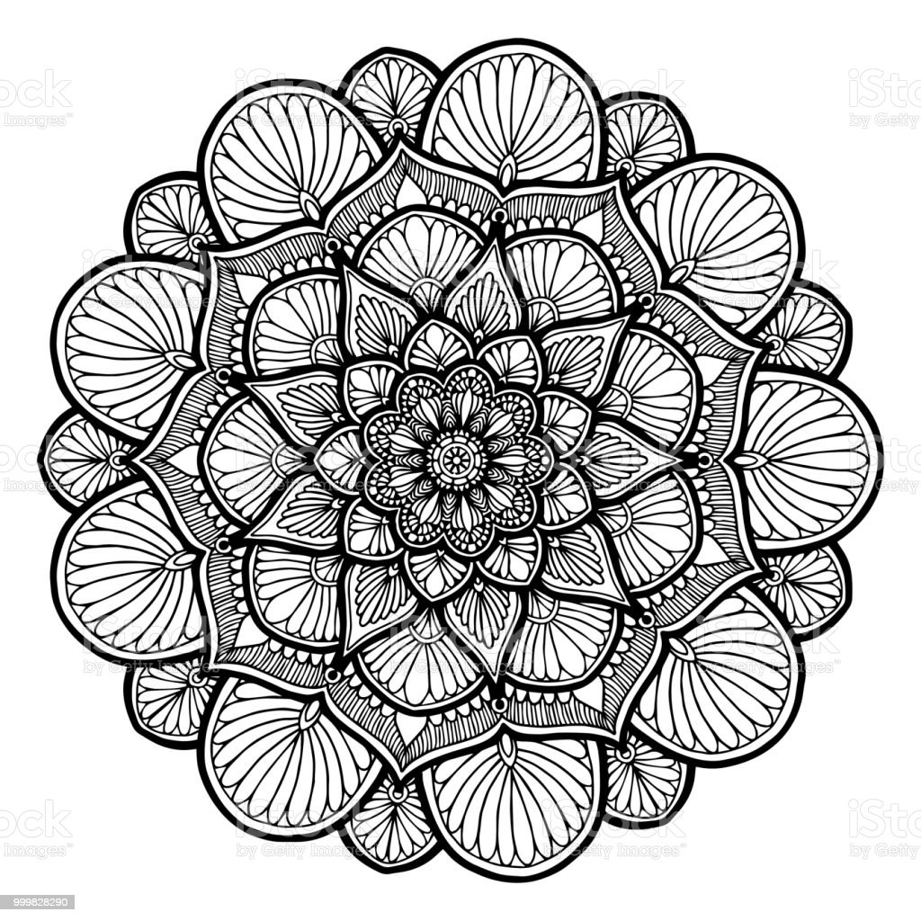 Ilustración De Mandalas Para Colorear Libro Ornamentos Decorativos